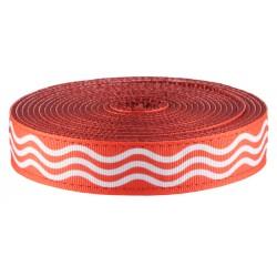 1 Inch Red Wave Ribbon on Dark Red Nylon Webbing