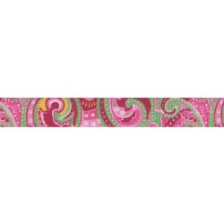 1 Inch Pink Paisley Polyester Webbing