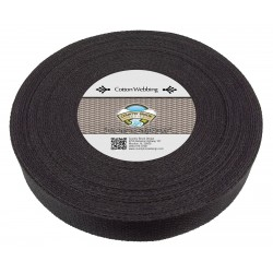 1 1/2 Inch Black Heavy Cotton Webbing