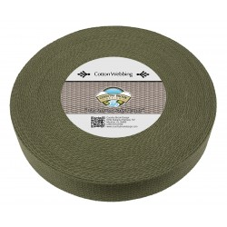 1 1/2 Inch Olive Drab Green Heavy Cotton Webbing