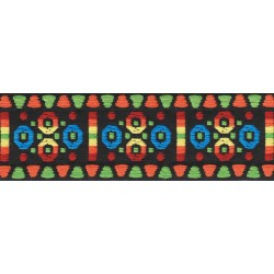 1 3/4 Inch Wide Rainbow Circles Woven Jacquard Braid Ribbon