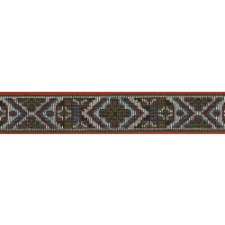 1 1/8 Inch Wide Red Tapestry Woven Jacquard Braid Ribbon (Various Lengths Available)