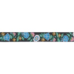 1 Inch Wide Blue Retro Flowers Woven Jacquard Braid Ribbon - Various Lengths Available
