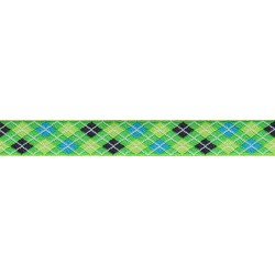 Lime Green and Blue Argyle Jacquard Ribbon Closeout - Various Widths & Lengths Available