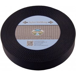 1 1/2 Inch Black Heavy Nylon Webbing