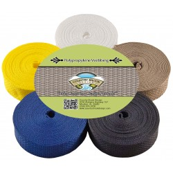 1 Inch Polypro Webbing #2, 5 Yards of 5 Colors