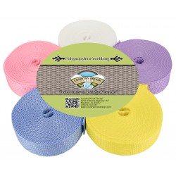 1 Inch Polypro Webbing #3 Pastels, 5 Yards of 5 Colors