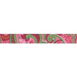 5/8 Inch Pink Paisley Polyester Webbing