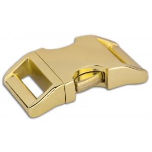 1 Inch Brass Plated Contoured Aluminum Side Release Buckles