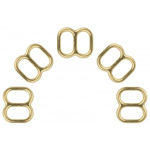 1/2 Inch Brass Plated Metal Round Extra Wide-Mouth Triglide Slides