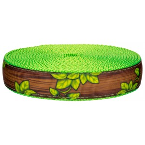 1 Inch Gaia's Grove on Hot Lime Green Nylon Webbing