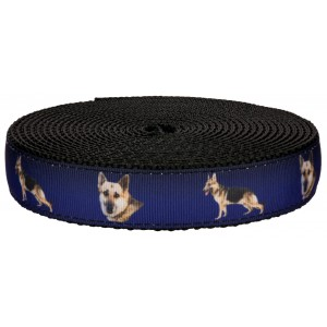 1 Inch German Shepherd on Black Nylon Webbing