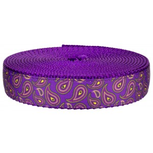 1 Inch Purple Paisley on Purple Nylon Webbing