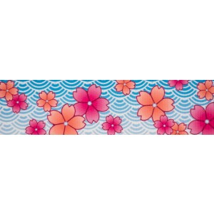 1 Inch Pink April Blossoms Polyester Webbing