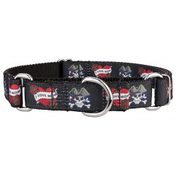 I Love Mom Ribbon Martingale Dog Collar