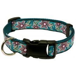 Deluxe Turquoise Flower Ribbon Dog Collar