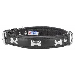Angel™ Rotterdam Bones Midnight Black Leather Dog Collar