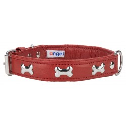 Angel™ Rotterdam Bones Valentine Red Leather Dog Collar