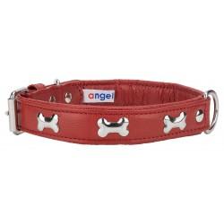 Angel™ Rotterdam Bones Valentine Red Leather Dog Collar