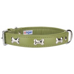 Angel™ Rotterdam Bones Olive Green Leather Dog Collar