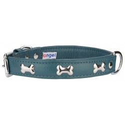 Angel™ Rotterdam Bones Ocean Blue Leather Dog Collar