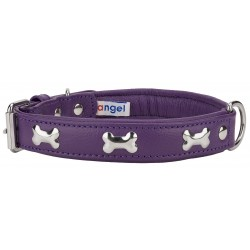 Angel™ Rotterdam Bones Orchid Purple Leather Dog Collar