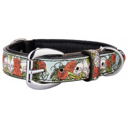 Angel™ Skull and Roses Leather Dog Collar