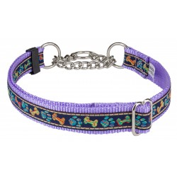 Plaid Bones and Paws Woven Ribbon on Lavender Half Check Dog Collar Limited Edition