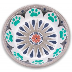 TarHong Grey Carmel Medallion Saucer Melamine Pet Bowl
