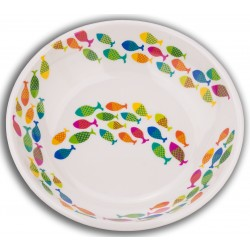 TarHong School of Fish Saucer Melamine Pet Bowl