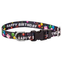 Deluxe Black Happy Birthday Featherweight Dog Collar - Extra Small