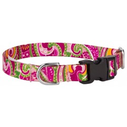 Pink Paisley Featherweight Deluxe Dog Collar - Extra Small