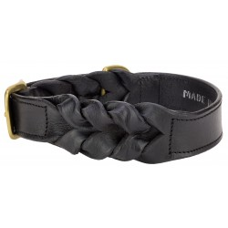 Angel™ Braided Black Leather Dog Collar