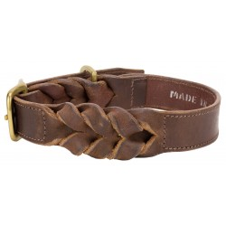 Angel™ Braided Brown Leather Dog Collar