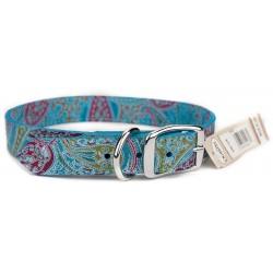 Omni Pet® Turquoise Paisley Leather Dog Collar