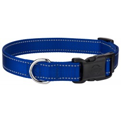 Deluxe Royal Blue Reflective Nylon Dog Collar