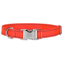 Premium Blaze Orange Reflective Nylon Dog Collar