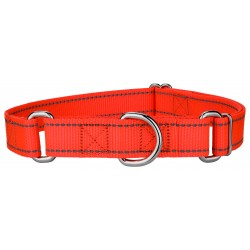 Blaze Orange Reflective Nylon Martingale Dog Collar