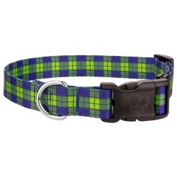 Deluxe Blue and Green Plaid Dog Collar