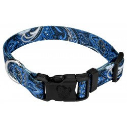 Deluxe Blue Paisley Dog Collar