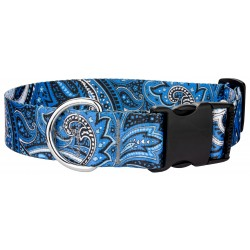 1 1/2 Inch Deluxe Blue Paisley Dog Collar