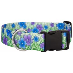 1 1/2 Inch Deluxe Blue April Blossoms Dog Collar