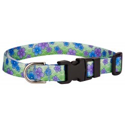 Deluxe Blue April Blossoms Feather Weight Dog Collar - Extra Small
