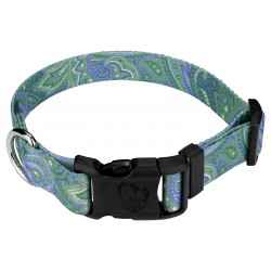 Green Paisley Deluxe Dog Collar