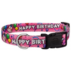 Deluxe Pink Happy Birthday Dog Collar