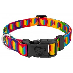 Deluxe Rainbow Hearts Dog Collar