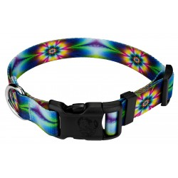 Deluxe Tie Dye Flowers Dog Collar