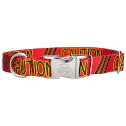 Premium Red Caution Dog Collar Limited Edition