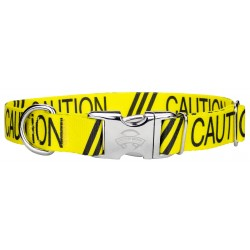 Premium Yellow Caution Dog Collar