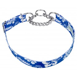 Royal Blue Hawaiian Half Check Dog Collar